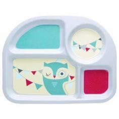 Want this cute divider plate for Miss P Kids Plates, Plates And Bowls, Group Meals, Food Groups, Owl Bird, Dinners For Kids, Different Recipes, Table Linens, Cushions