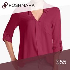 🎀HP Sale🎀Red Plum Roll-Tab Mixed Media Top An essential top for all occasions! Very versatile. Wear over leggings, denim or tucked into a skirt. Rayon and spandex blend. Slightly relaxed fit. Perfect for all seasons. Collared and pocket embellishment at front. Pull-on, tunic-like styling. Product looks exactly as seen in photos. Pleione Tops