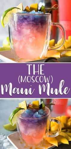 The Maui Mule puts a tropical twist on the classic cocktail! Trade out your typical vodka for something a little more pink, and your drink will be as gorgeous as a Hawaiian sunset! #crumbykitchen #moscowmule #mauimule #cocktail #cocktailrecipe #vodkadrink #drink #drinking #drinkrecipes #alcohol #summer #summervibes #gingerbeer #mango #rainbow #unicorn #sunset #colorful #partyfood