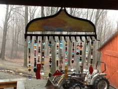 I bought this old rake head and made such a beautiful wind chime.  $50