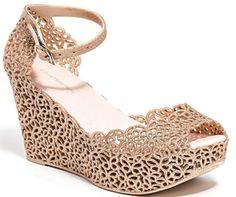 Glittery low wedge peep toe sandal