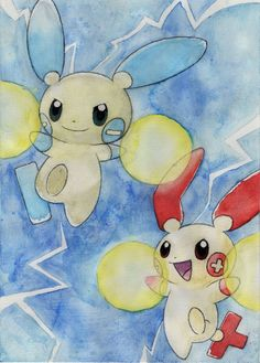 Minun and Plusle! by Spigos