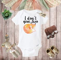 I don't Give Two Fox Onesie Baby Shower Gift by BohoBabyNest