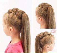Bit bigger pull through😉 #EasyHairstyleTutorials Princess Hairstyles, Little Girl Hairstyles, Pretty Hairstyles, Braided Hairstyles, Childrens Hairstyles, Hairdos, Girl Hair Dos, Baby Girl Hair, Toddler Hair