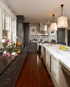 I love this kitchen, but know my husband will NEVER go for painting the cabinets! Have to find a stain that gives a similar look