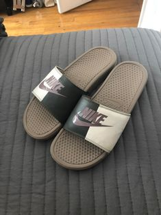 Nike slides used but can be cleaned, if you wanna purchase and need them cleaned I will do my best Nike Slides Mens, Nike Sandals, Nike Benassi, Pool Slides, I Am Awesome, Slippers, Shoes, Style, Shoe