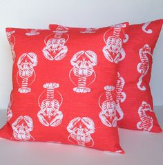Two covers, 1 coral lobster and 1 seahorse pillow covers, nautical pillow, nautical decor, decorative throw pillow, coral pillow, 18x18 by ThatDutchGirlPillows on Etsy