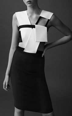 Mega Milano Black And Off White Dress by MUGLER