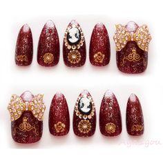 3D nails, gothic lolita, egl, goth, big bows, bling, burgundy, dark... ($20) ❤ liked on Polyvore featuring beauty products, nail care, nail treatments, nails, makeup, beauty and nail polish