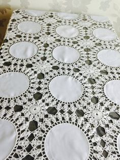 """Tablecloth 66"""" by 41"""", crochet tablecloth, crocheted tablecloth, rectangular crochet tablecloth, whi"""