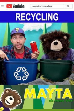 Recycling for kids! Have your child learn the difference between trash, recycling and yard trimmings. Watch as B cleans up the train tracks by placing all the trash into the proper bins. Mayta The Brown Bear features educational videos for kids. Baby Learning Videos, Toddler Learning, Toddler Activities, Recycling Activities For Kids, Recycling For Kids, Crafts For Kids, Baby Lernen, Reduce Reuse Recycle, Learning Colors