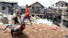 Children playing in the Makoko slum in Lagos, Nigeria (Archive shot)