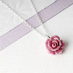 Grace & Valour Pink Rose Flower Necklace On A Customisable Gift Card ($20) ❤ liked on Polyvore featuring jewelry, necklaces, pink, flower pendant necklace, rose jewellery, flower jewelry, pink jewelry and rose flower jewelry