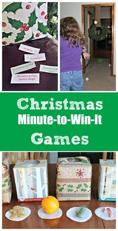 A dozen Christmas & holiday themed minute to win it games that both kids & adults will enjoy!!  Super easy to set up and great for class parties too.