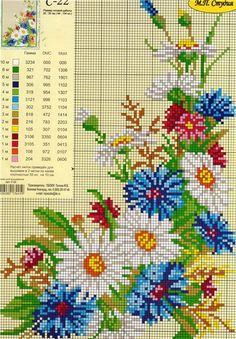 Ромашки, васильки, колоски... У Вас есть схемы полевых цветов? Мне очень нужны для салфетки. Поделитесь...