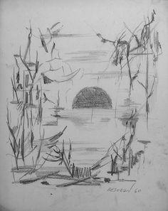 E. Besozzi pitt. 1960 Composizione matita su carta cm.32x26 arc. 1146