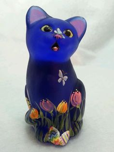 Fenton Cobalt Glass Mini Kitten Easter/Spring by CC Hardman OOAK