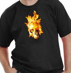 Camiseta Caveira em Chamas