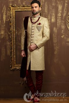 Beige Jacquard Silk Wedding Wear Heavy Embroidery Work Sherwani. For more information :- Call us @+919377222211 (Whatsapp Available)