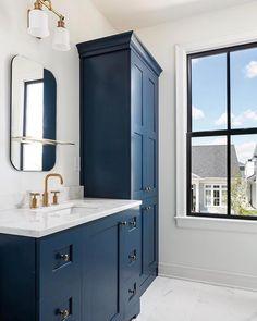 My Favorite Benjamin Moore Paint Colors - Zimmereinrichtung Blue Bathroom Vanity, Blue Vanity, Bathroom Vanity Designs, Bathroom Wallpaper, Grey Bathrooms, Small Bathroom, Bathroom Ideas, Basement Bathroom, Bathroom Cabinets