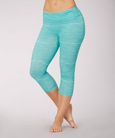 Another great find on #zulily! Balance Collection Dusty Aqua Space-Dye Crop Leggings by Balance Collection #zulilyfinds