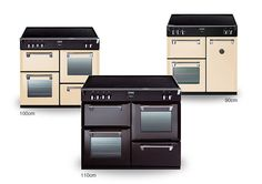 Stoves Richmond range cookers, shown in Champange (cream) and black.