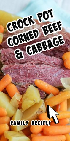 Crock Pot Corned Beef & Cabbage is the traditional St. Patrick's Day food. This recipe is super easy and tastes delicious. Plus it makes for great leftovers! Crockpot Cabbage Recipes, Corned Beef Recipes, Crockpot Dishes, Crock Pot Recipe For Corned Beef And Cabbage, Soup Recipes, Dinner Recipes, Corned Beef Brisket, Slow Cooker Corned Beef, Boiled Dinner