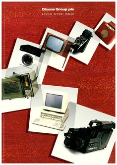 Dixons Group plc (now Dixons Retail plc) Annual Report 86 - 87. Some of the cutting edge technology of that year featured on the front cover...