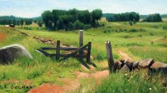 Through the Fields oil on board 13x6 available at the Gettysburg Frame shop or on my web site.