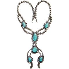 This is a Southwestern Spider Web Turquoise Naja Necklace Sterling Silver Squash Blossom Style Native American Vintage. A beautiful 20 inch turquoise