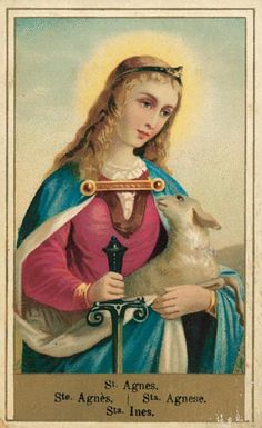 Saint Agnes of Rome, pray for us! Catholic Art, Catholic Saints, Roman Catholic, Religious Art, Vintage Holy Cards, Losing My Religion, St Agnes, All Saints Day, Prayer Cards