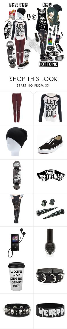 """Skater Girl VS Emo Girl"" by xxx-marshmallow-of-death-xxx ❤ liked on Polyvore featuring Topshop, Vans, ETUÍ, Tripp, Converse, Hot Topic, Sony and Dsquared2"