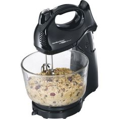 Hamilton Beach Deluxe 4 QT Hand Stand Black Mixer 6 Speeds Doubles As Hand Mixer #HamiltonBeach