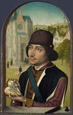 """Master of the View of Saint Gudule: """"Portrait of a Man"""", Right wing of a diptych, c. 1480,"""