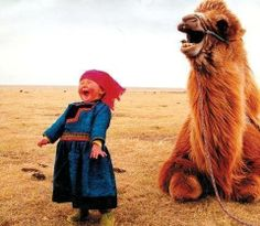 Laughing Mongolian girl with her camel.