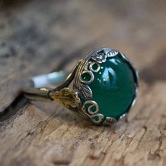 Green quartz ring, boho ring, oxidized silver ring, two tones ring, sterling silver ring, gold leaf ring, silver crown ring - Majestic R2069