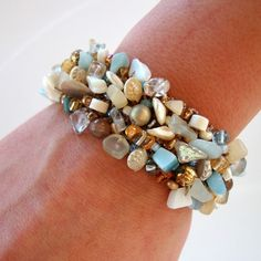 Coastal Beach Lover Bracelet Nautical Summer Vacation Wide Beaed Cuff... (105 AUD) ❤ liked on Polyvore featuring jewelry, bracelets, beach, rock, beach jewelry, nautical jewelry, sea shell jewelry, wide cuff bracelet and cream jewelry