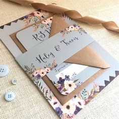 We're obsessed with this modern country garden inspired invite set from Nessa Noelle Wedding Stationery