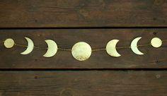 Moon Wall Decor  Moon Phases wall Hanging Brass Moon Garland