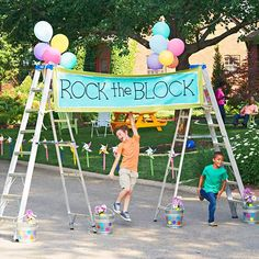 I really like the idea of using the ladders as a sign holder --- Possibly a photo booth option :-)