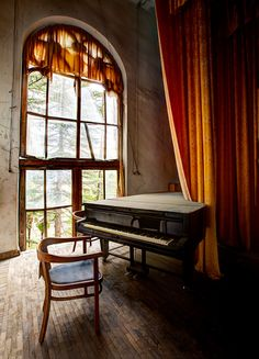 A beautiful grand piano sits decaying in an abandoned sanatorium concert hall in Ckaltubo, republic of Georgia. Built in 1947 for miners during the Stalin regime in the Soviet Union.
