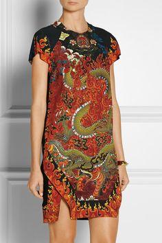 JUST CAVALLI Dragon-print stretch-crepe mini dress $1,095