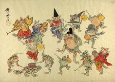 Animals with musical instruments, dancing round Shintoist frog. Kawanabe Kyosai.