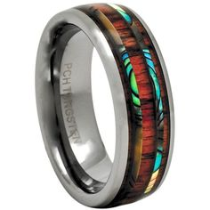 Men Wedding Rings Koa Wood Rings Hawaiian Wedding Band with Abalone Inlay Tungsten For Men and Women Matching set Five rows of different inlay creates an unique beautiful design - Tungsten Wedding Rings, Celtic Wedding Rings, Custom Wedding Rings, Tungsten Rings, Tungsten Carbide, Mens Wood Wedding Bands, Silver Wedding Bands, Wedding Ring Bands, Hawaiian Wedding Rings