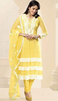 Yellow Nett Churidar Anarkali Suit-KPW-19031