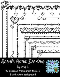 Doodle Heart Borders 2. 42 images in this set. 21 different doodle designs that will make your creations POP! $