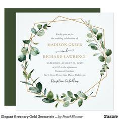 Elegant Greenery Gold Geometric Frame Wedding Invitation
