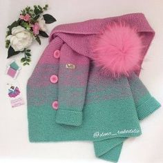 Information on Construction of Hooded Baby Vest Knitting Blogs, Knitting For Kids, Baby Knitting, Baby Boy Cardigan, Cardigan Bebe, Knit Baby Sweaters, Knitted Baby Blankets, Crochet Girls, Crochet For Kids
