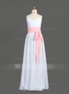 Junior Bridesmaid Dresses - $96.99 - A-Line/Princess V-neck Floor-Length Chiffon Junior Bridesmaid Dress With Ruffle Sash Bow(s) (009001766) http://jjshouse.com/A-Line-Princess-V-Neck-Floor-Length-Chiffon-Junior-Bridesmaid-Dress-With-Ruffle-Sash-Bow-S-009001766-g1766