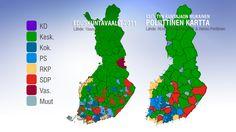 Yle Uutisten  kuntakartta